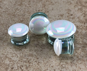White Aurora Borealis Glass Plugs