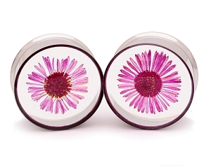 Embedded Pink Daisy Flower Resin Plugs