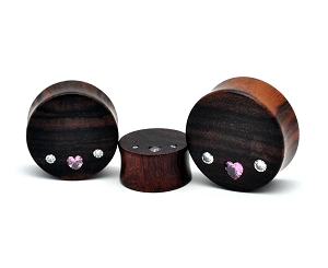 Sono Wood Plugs with Pink Heart CZ and 2 Round Clear CZ