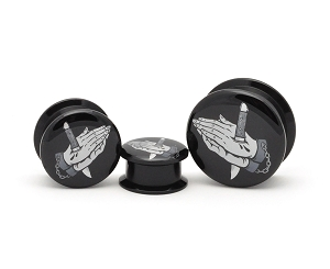 Black Acrylic Pray For Mercy Picture Plugs