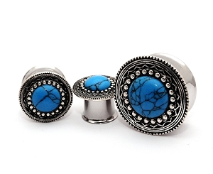 316L Steel Double Flared Tunnels with Antique Silver and Turquoise Stone Top