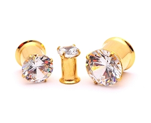 316L Gold Steel Double Flare Tunnels with Clear Prong Set CZ