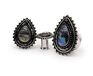 316L Stainless Steel Tunnels with Abalone Centered Vintage Teardrop Top