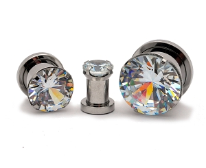 316L Steel Screw on Plugs with Single Prong Set Clear CZ