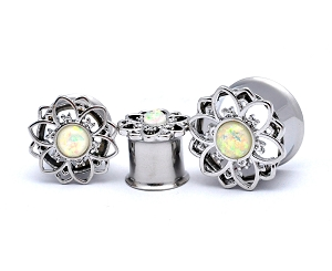 316L Stainless Steel Tunnels with Flower and Synthetic Opal