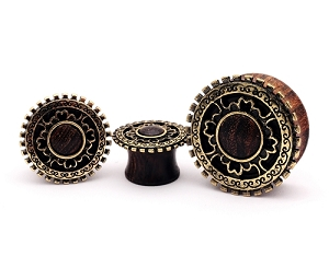 Sono Wood Plugs with Antique Gold Plated Tribal Shield