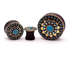 Ebony Wood Plugs with Turquoise Tribal Sun Top