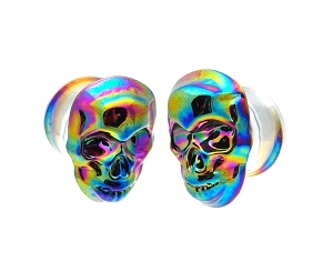 Glass Plugs with Multicolored Iridescent Skull