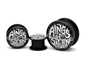 Black Acrylic Rings of Saturn Black and White Logo Picture Plugs
