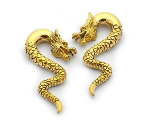 Pair of Brass Dragon Ear Weights
