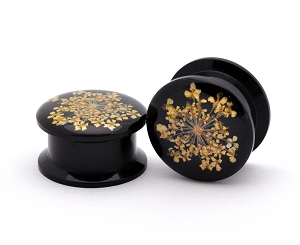 Black Acrylic Embedded Yellow Queen Anne's Lace Plugs