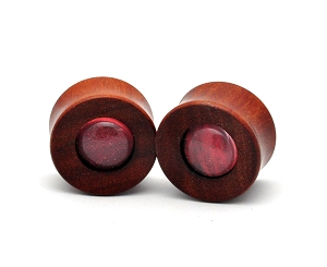 Saba Wood Concave Plugs with Red Swirl Glass Center