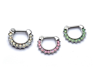 Steel Septum Clicker with Paved Opalites