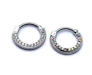 Steel Septum Clicker with Round Top and CZ