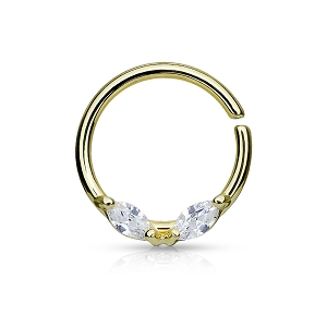 Steel Bendable Septum/Cartilage Rings with Prong Set Marquise CZs