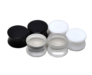 Set of 3 Pairs Acrylic Plugs (Black, Clear, White)