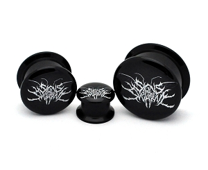 Black Acrylic Signs of the Swarm Logo Picture Plugs