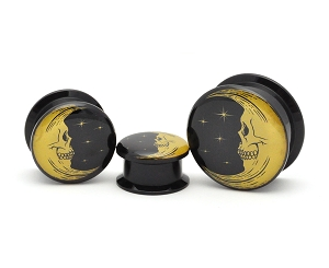 Black Acrylic Skull Face Moon Picture Plugs