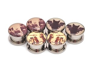 Set of 3 Pairs Picture Plugs (Cat Family Picnic, Vampire Cat, Cats with Umbrellas)