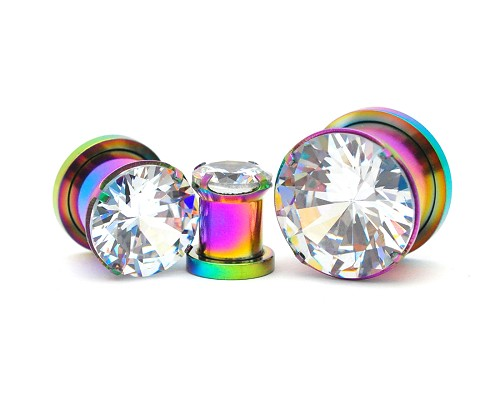 316L Rainbow Steel Screw on Plugs with Prong Set Clear CZ