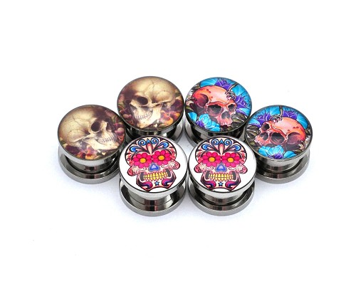 Set of 3 Pairs Picture Plugs (Skull #6, Skull and Roses, Day of the Dead #2)