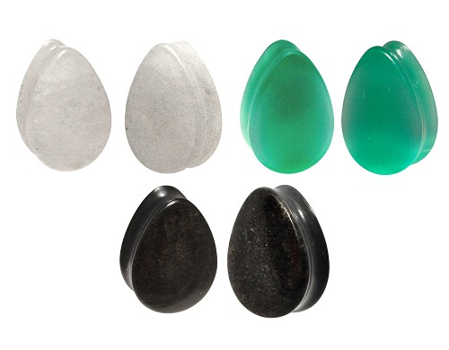 Set of 3 Stone Teardrop Plugs (Cloudy Quartz, Mint Green Cat Eye, Golden Obsidian)