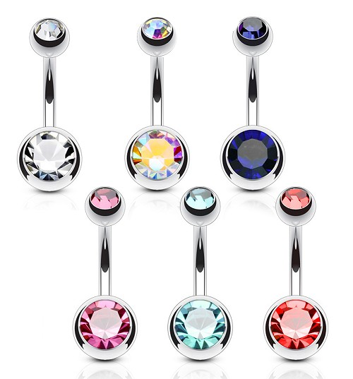 Set of 6 316L Surgical Steel Navel Rings With Colored Gem Set