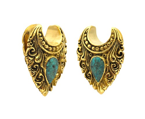 Brass Tribal Saddles with Crushed Turquoise Stone Inlay
