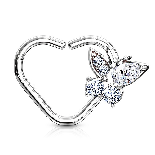 316L Surgical Steel Heart Shaped Cartilage/Daith/Ear Ring With CZ Butterfly (Sold in Singles)