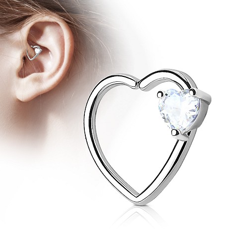 316L Surgical Steel Heart Shaped Cartilage/Daith/Ear Ring With Heart CZ (Sold in Singles)