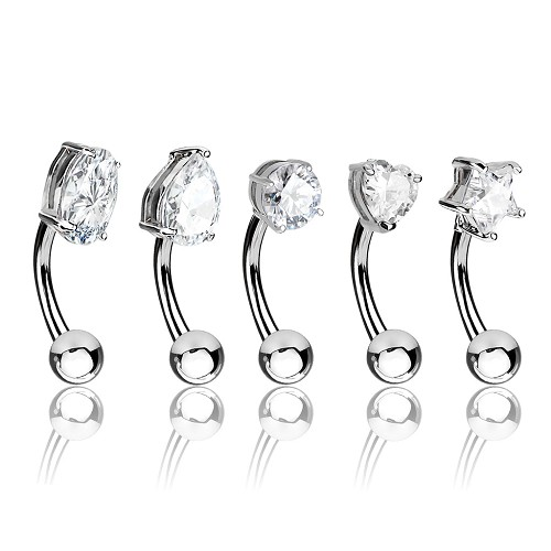 5 Pack of 316L Surgical Steel Eyebrow Rings With Assorted Clear CZ