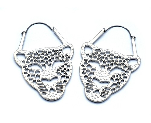 Hoop Earrings with Leopard Face