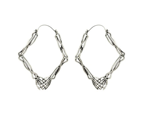 Hoop Earrings with Skeleton Holding Hands