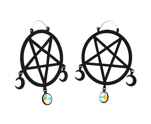 Hoop Earrings with Matte Black Pentagram and Moons with AB Gem