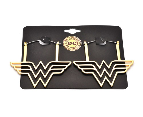 Hoop Earrings with Gold Plated Wonder Woman Symbol