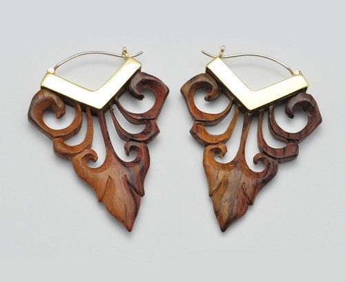 Hoop Earrings with Sono Wood Floral Spear
