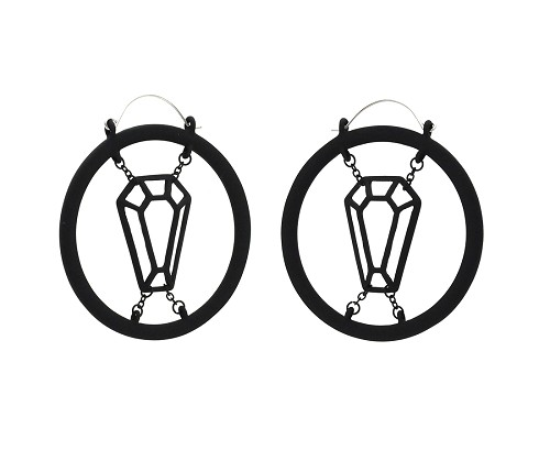 Hoop Earrings with Black Confined Cutout Coffin