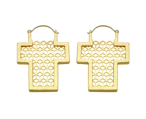 Hoop Earrings with Gold Plated Cut out Filigree Cross