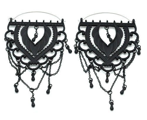Black Filigree with Chains Hoop Earrings