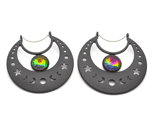 Hoop Earrings with Black Cut Out Moon Phases and Vitrail Medium Gem