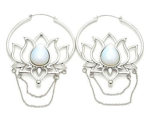 Lotus with Chains and Opalite Stone Hoop Earrings