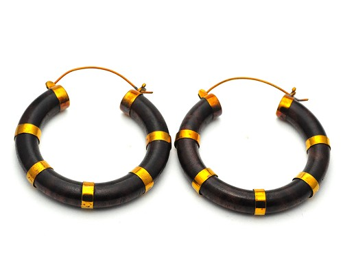Handmade Sono Wood Rings With Brass Accents Hoop Earrings