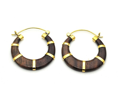Handmade Sono Wood Semi-Circle With Brass Accents Style 2 Hoop Earrings