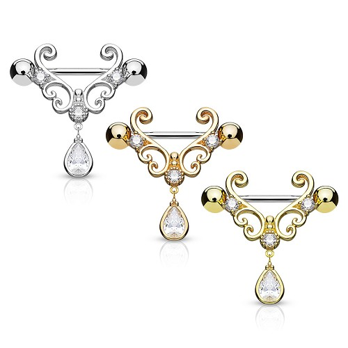 14g Nipple Ring with CZ Set Heart Filigree and Teardrop Dangle (Sold in Singles)