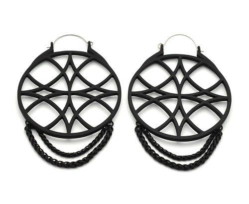 Black Web Geometry Ear Hoops with Chains