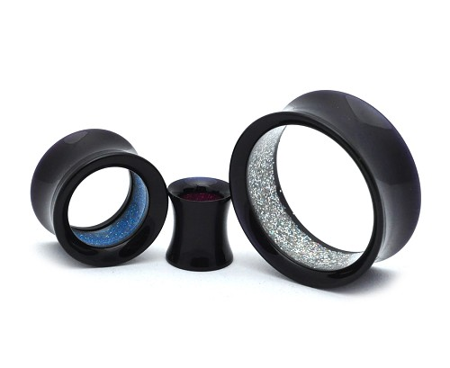 Black Acrylic Double Flare Tunnels With Interior Glitter