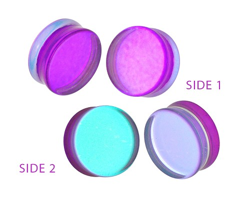 Purple/Aqua Iridescent Double Sided Glass Plugs