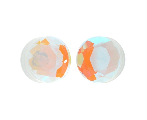 Aurora Borealis Iridescent Faceted Double Flare Glass Plugs