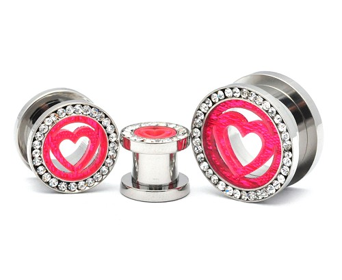 316L Stainless Steel Tunnels with Pink Heart and Clear CZ