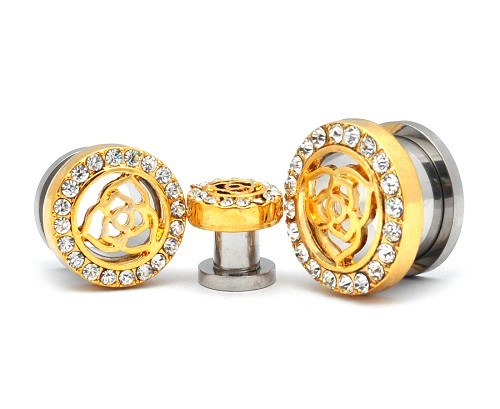 316L Steel Screw On Tunnels With Gold Rose Top and Clear CZ